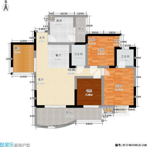 紫晶丽苑3室0厅2卫1厨94.00㎡户型图