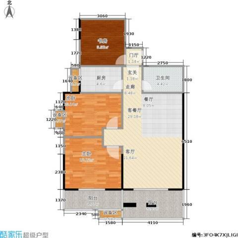 禹洲大学城3室1厅1卫1厨115.00㎡户型图