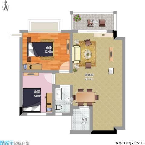 日高卡卡2室1厅1卫1厨83.00㎡户型图