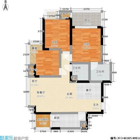 元佳广场3室1厅2卫1厨114.00㎡户型图