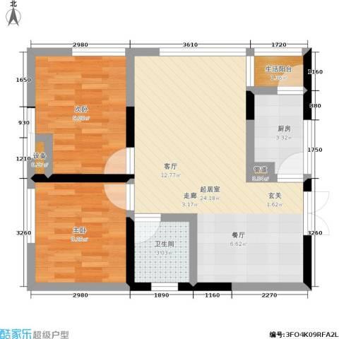 海洲国际公寓2室0厅1卫1厨73.00㎡户型图