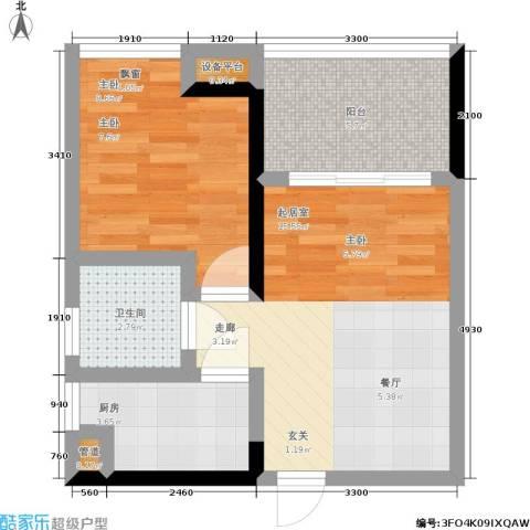 元佳广场1室0厅1卫1厨36.85㎡户型图