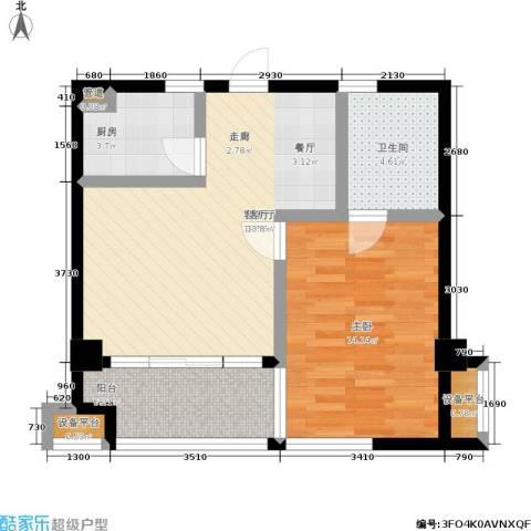 湖滨1号1室1厅1卫1厨72.00㎡户型图