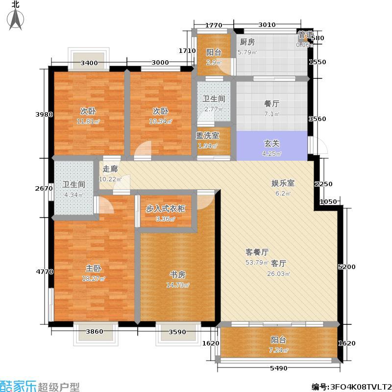 汇中沁园户型4室1厅2卫1厨