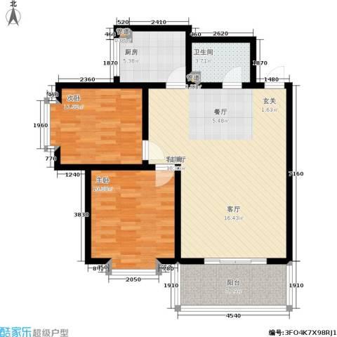 水岸清城2室1厅1卫1厨85.00㎡户型图