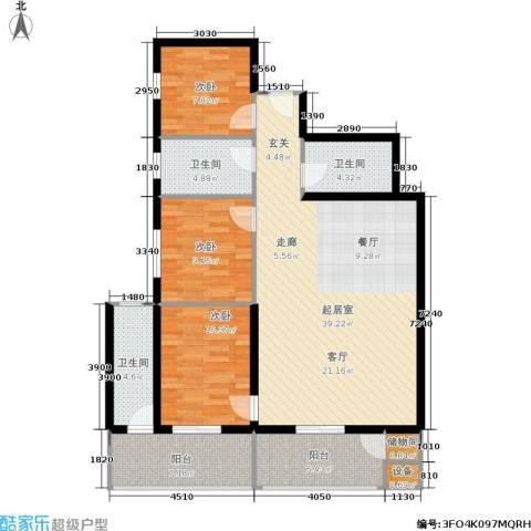 曲江雁唐府邸3室0厅3卫0厨107.40㎡户型图