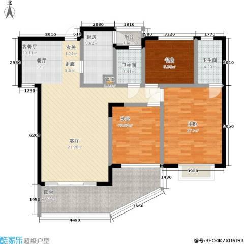 卫星・半岛花园3室1厅2卫1厨105.11㎡户型图