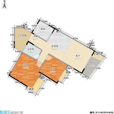 达飞绿洲2室0厅1卫1厨75.00㎡户型图