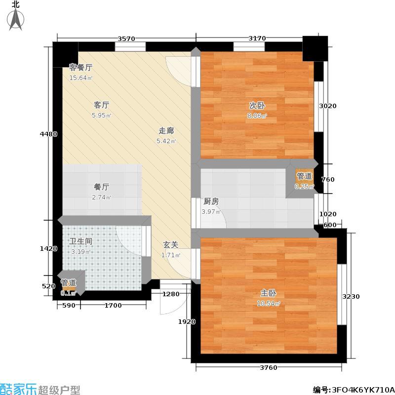 金州福佳新天地广场商业65.00㎡C户型 1室1厅 65平米户型