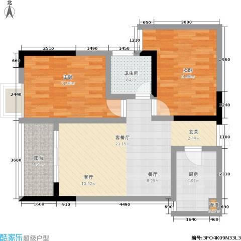 宏声新座2室1厅1卫1厨84.00㎡户型图