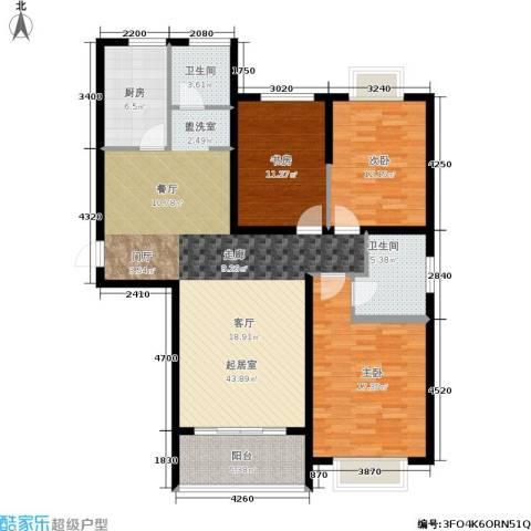 东湖山庄・碧云阁3室0厅2卫1厨107.00㎡户型图
