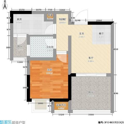 思缘逸家1室1厅1卫1厨43.00㎡户型图