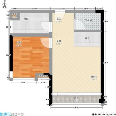 我平方1室1厅1卫1厨39.00㎡户型图