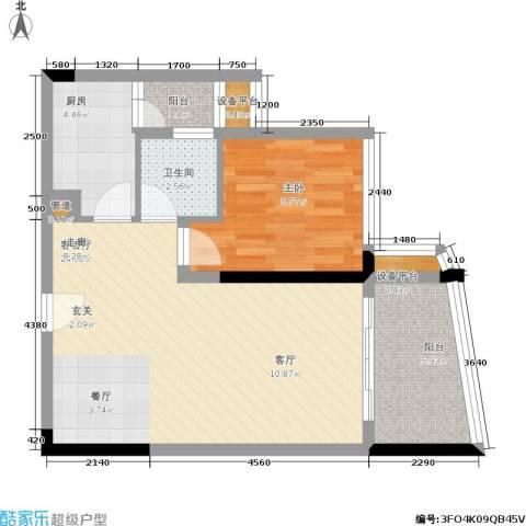 我平方1室1厅1卫1厨49.14㎡户型图