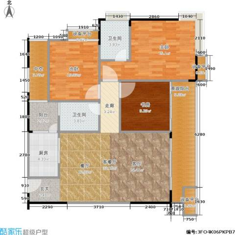 北回归线3室1厅2卫1厨130.00㎡户型图