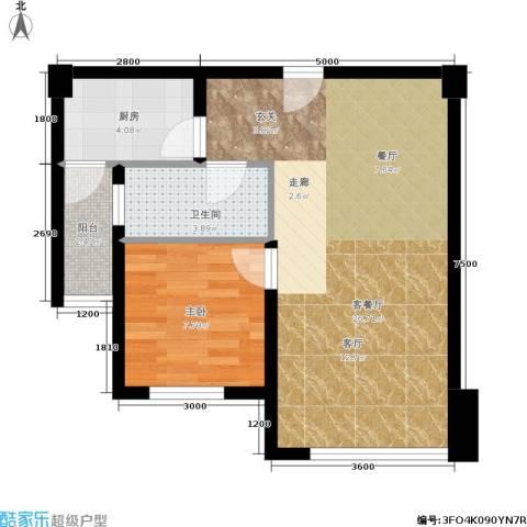 左林右舍1室1厅1卫1厨47.00㎡户型图