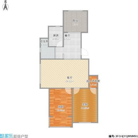 金色玺园2室2厅1卫1厨111.00㎡户型图