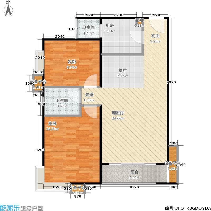 鸿业兴园94.81㎡二室二厅一卫户型