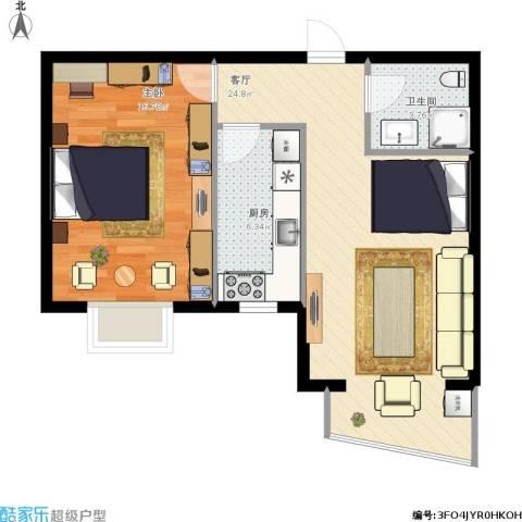 绿地世纪城・塞纳印象1室1厅1卫1厨72.00㎡户型图