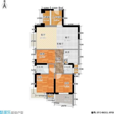 古龙御园2室1厅2卫1厨97.00㎡户型图