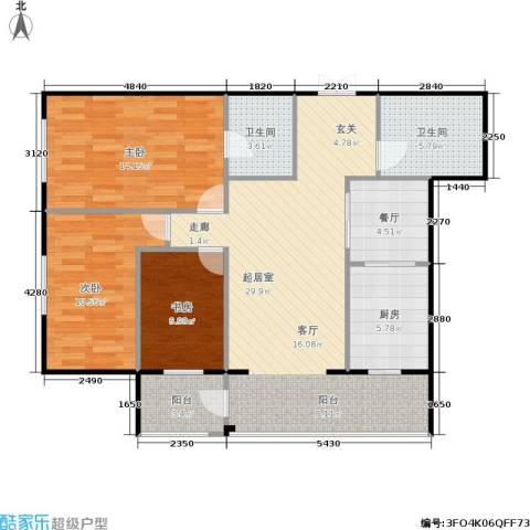 锋华城3室1厅2卫1厨115.00㎡户型图