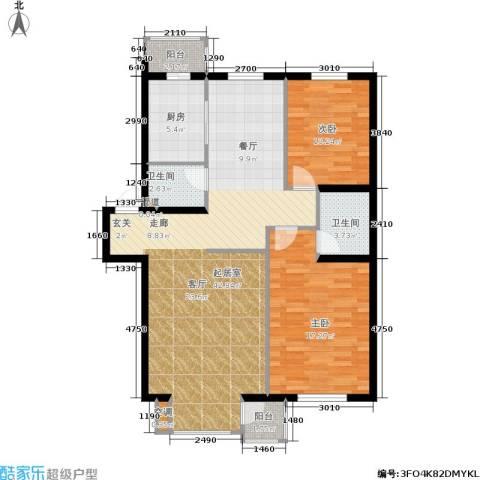 大学新城2室0厅2卫1厨86.42㎡户型图