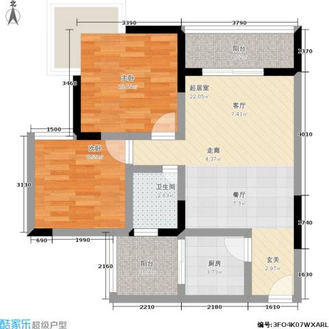 龙脊万兴家园2室0厅1卫1厨66.00㎡户型图