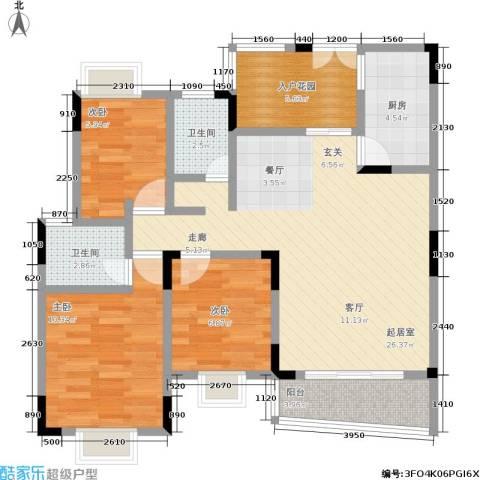 鸳鸯北湖郡3室0厅2卫1厨80.00㎡户型图