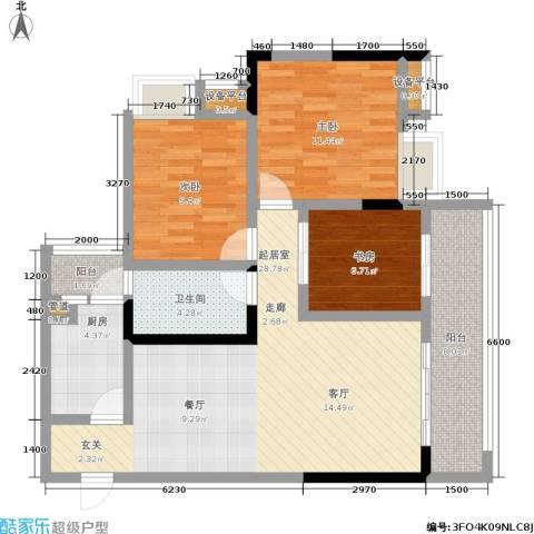 纳帕溪谷3室0厅1卫1厨84.00㎡户型图