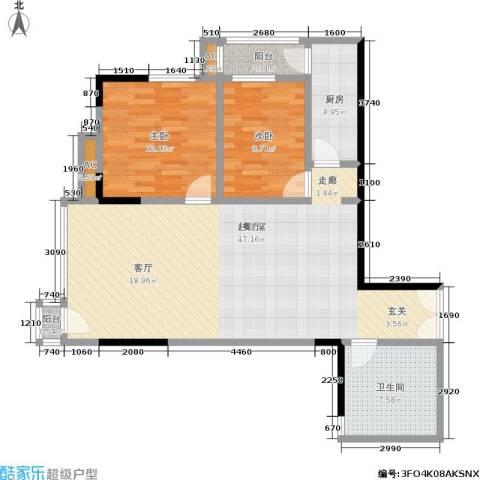 邦兴北都2室0厅1卫1厨88.00㎡户型图