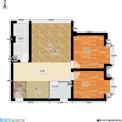 左林右舍2室1厅1卫1厨62.00㎡户型图