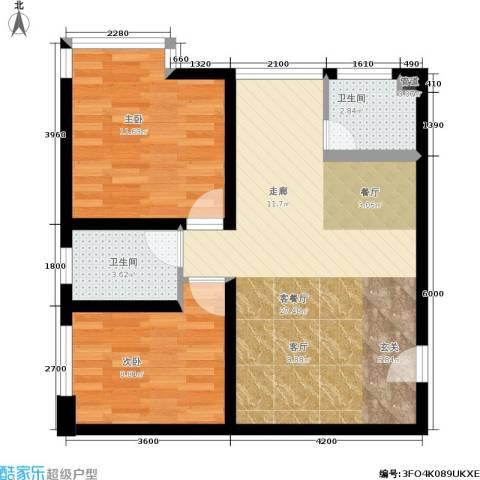 左林右舍2室1厅2卫0厨62.00㎡户型图