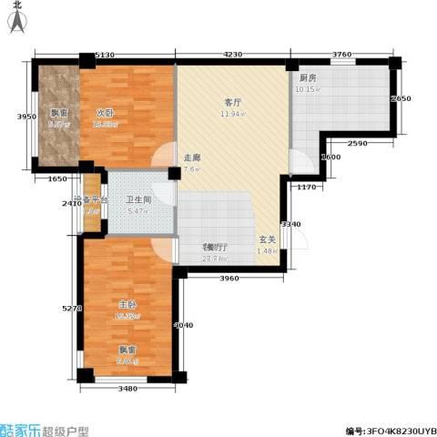 中河名庭2室1厅1卫1厨90.00㎡户型图