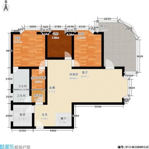 金福大厦3室1厅2卫1厨130.00㎡户型图