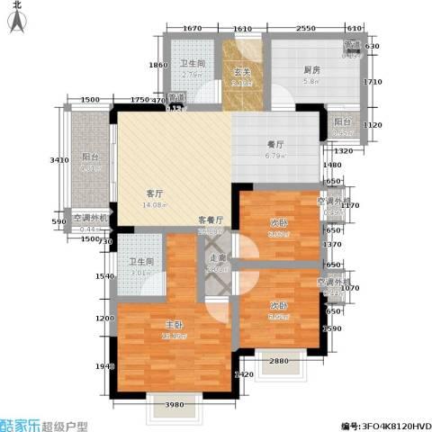 大川国际3室1厅2卫1厨86.00㎡户型图