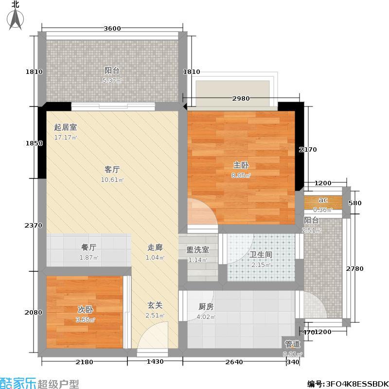 同创碧海城55.00㎡12号楼一室一厅一卫户型