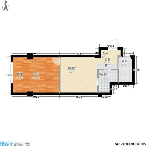 中河名庭1室1厅1卫1厨50.00㎡户型图