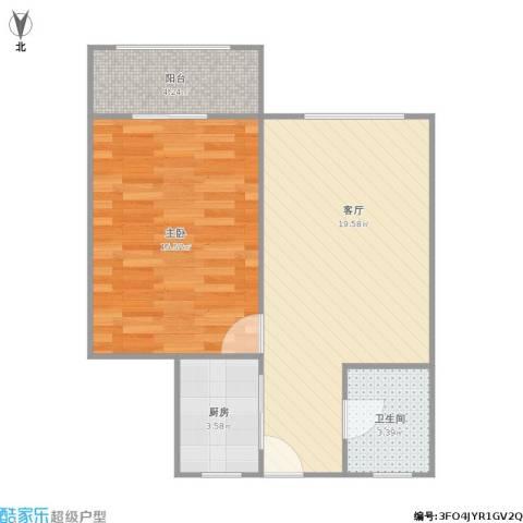 金虹苑1室1厅1卫1厨62.00㎡户型图