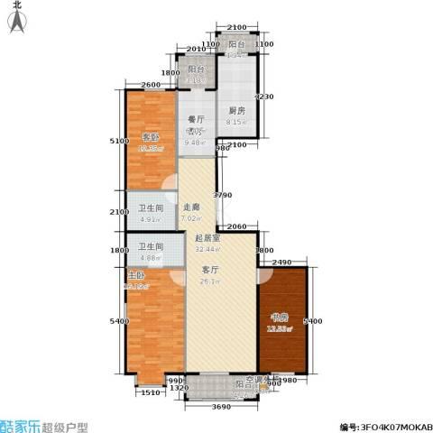 蓝天荣府3室1厅2卫1厨116.10㎡户型图