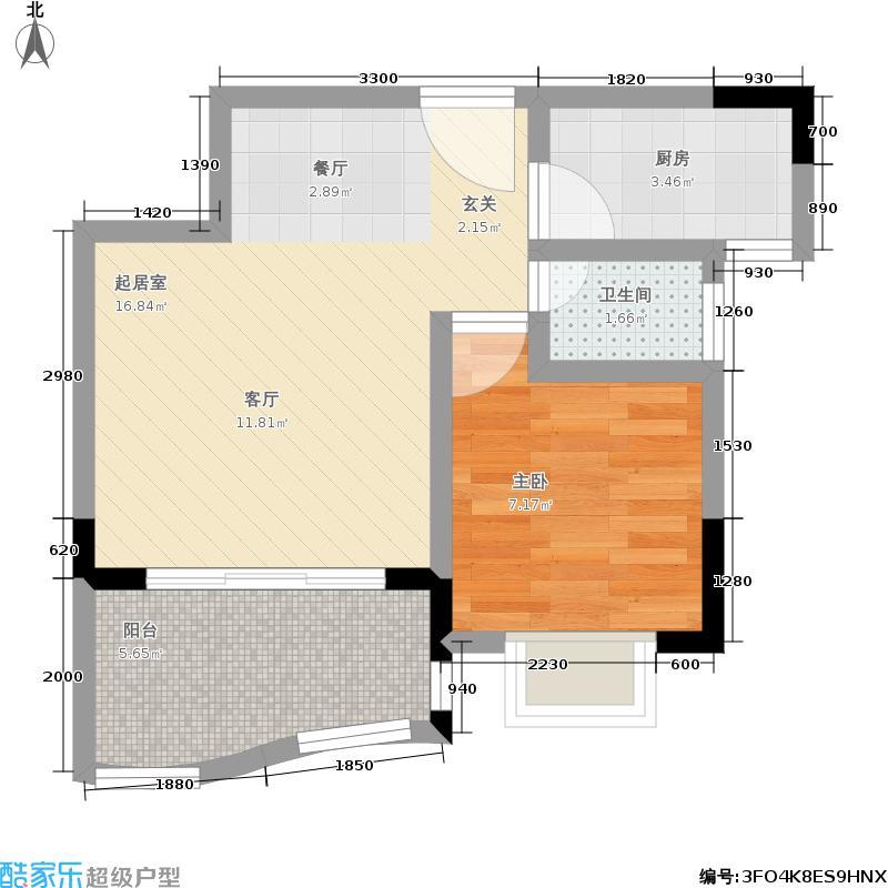 顺泽・玲珑湾48.19㎡C户型一室一卫户型