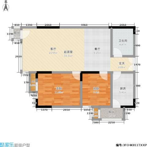 邦兴北都2室0厅1卫1厨74.00㎡户型图