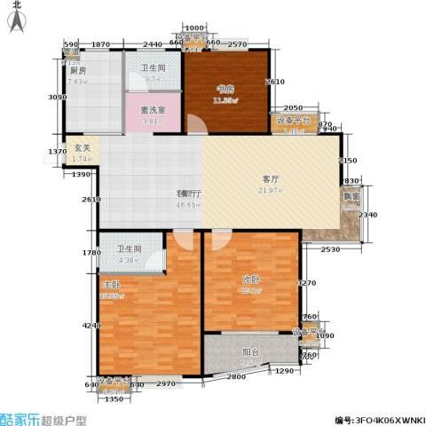 福星新城3室1厅2卫1厨128.00㎡户型图