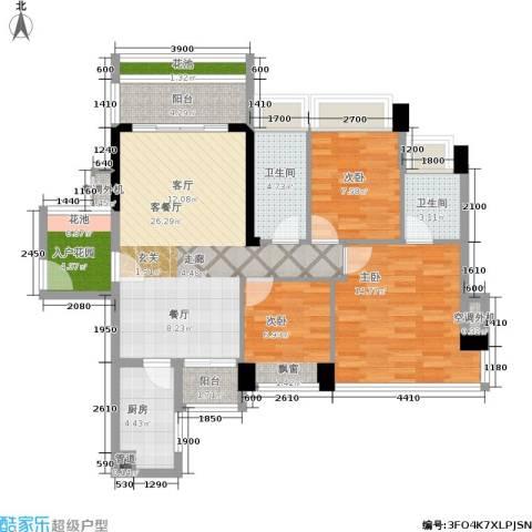 花城广场3室1厅2卫1厨118.00㎡户型图