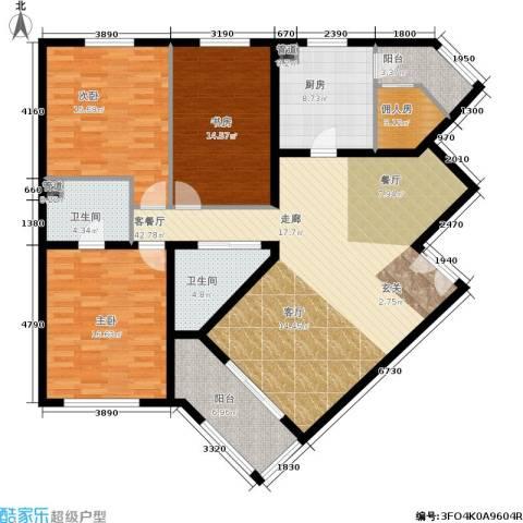 陶然湖景3室1厅2卫1厨137.00㎡户型图