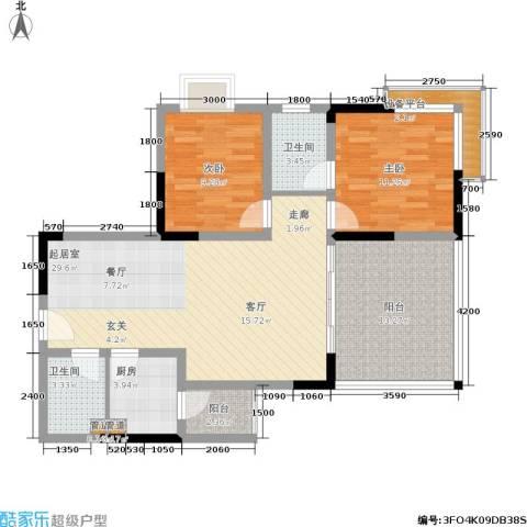 一城南溪书香2室0厅2卫1厨114.00㎡户型图
