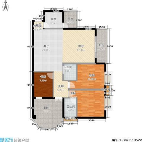 新城绿洲3室0厅2卫1厨110.55㎡户型图