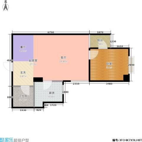 巴黎公舍1卫1厨52.00㎡户型图