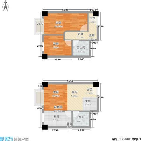 都会992室0厅2卫0厨51.50㎡户型图