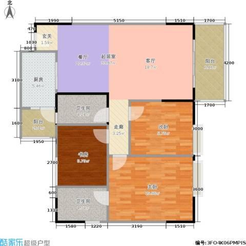 港韵新苑3室0厅2卫1厨124.00㎡户型图