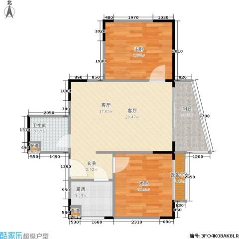 玲珑雅居2室1厅1卫1厨53.00㎡户型图